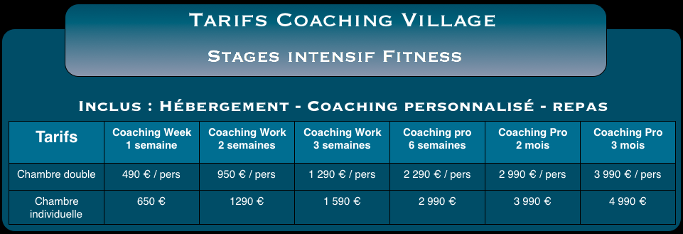 Tarifs coaching village 1